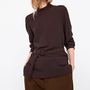 NEW Zara Brown High-Neck Top with Belt   Size: XS